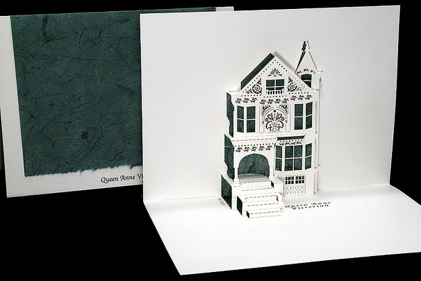 queen anne victorian origami architecture popup cards